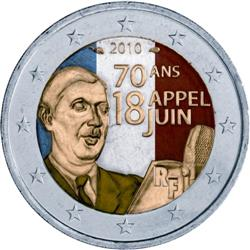 Obverse of France 2 euros 2010 - 70th Anniversary of General De Gaulle's Appeal of 18 June