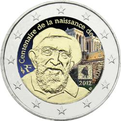 Obverse of France 2 euros 2012 - 100th anniversary of the birth of the Abbe Pierre