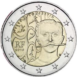 Obverse of France 2 euros 2013 - 150th Anniversary of Pierre de Coubertin's Birth