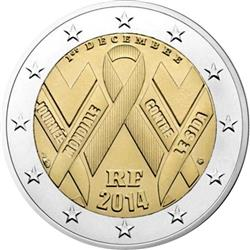 Obverse of France 2 euros 2014 - World AIDS Day