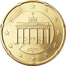 Obverse of Germany 20 cents 2002 - The Brandenburg Gate