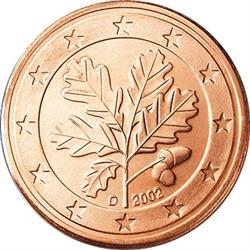 Obverse of Germany 2 cents 2002 - The oak twig