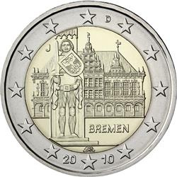 Obverse of Germany 2 euros 2010 - City Hall and Roland - Bremen
