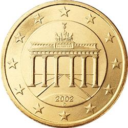 Obverse of Germany 50 cents 2002 - The Brandenburg Gate