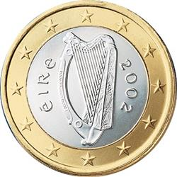 Obverse of Ireland 1 euro 2002 - Celtic Harp