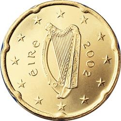 Obverse of Ireland 20 cents 2002 - Celtic Harp