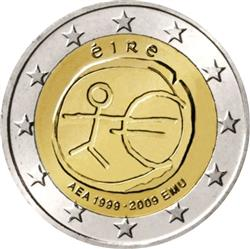 Obverse of Ireland 2 euros 2009 - 10th anniversary of the EMU and the birth of the euro