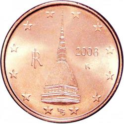 Obverse of Italy 2 cents 2007 - Mole Antonelliana