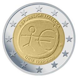 Obverse of Italy 2 euros 2009 - 10th anniversary of the EMU and the birth of the euro