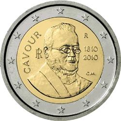 Obverse of Italy 2 euros 2010 - 200th Birthday of Camillo Benso, conte di Cavour