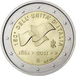 Obverse of Italy 2 euros 2011 - 150th Anniversary of Italian unification