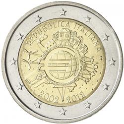 Obverse of Italy 2 euros 2012 - 10 years of euro banknotes and coins