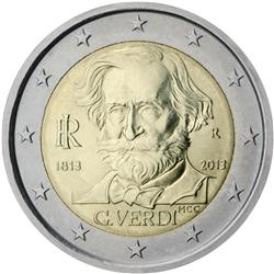 Obverse of Italy 2 euros 2013 - 200th Anniversary of the Birth of Giuseppe Verdi