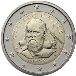 Obverse of Italy 2 euros 2014 - 450th Years since the Birth of Galileo Galilei
