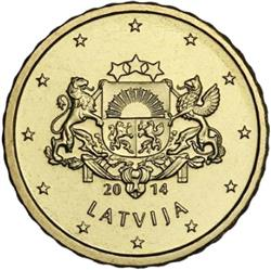 Obverse of Latvia 10 cents 2014 - Greater coat of arms of Latvia