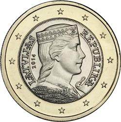 Obverse of Latvia 1 euro 2014 - Latvian maiden