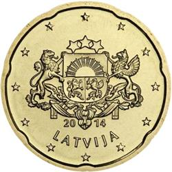 Obverse of Latvia 20 cents 2014 - Greater coat of arms of Latvia