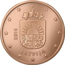 Obverse of Latvia 2 cents 2014 - Coat of arms of Latvia