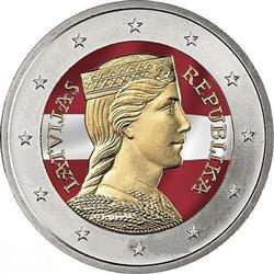 Obverse of Latvia 2 euros 2014 - Latvian maiden