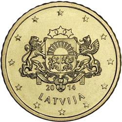 Obverse of Latvia 50 cents 2014 - Greater coat of arms of Latvia