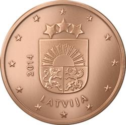 Obverse of Latvia 5 cents 2014 - Coat of arms of Latvia