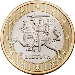 Obverse of Lithuania 1 euro 2015 - Vytis