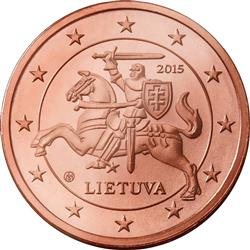 Obverse of Lithuania 2 cents 2015 - Vytis