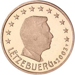 Obverse of Luxembourg 1 cent 2004 - The Grand Duke Henri