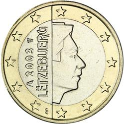 Obverse of Luxembourg 1 euro 2002 - The Grand Duke Henri