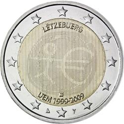 Obverse of Luxembourg 2 euros 2009 - 10th anniversary of the EMU and the birth of the euro