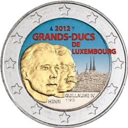 Obverse of Luxembourg 2 euros 2012 - 100 anniversary of the death of Grand Duke William IV