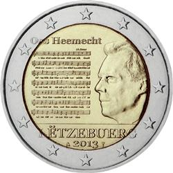 Obverse of Luxembourg 2 euros 2013 - National Anthem of the Grand Duchy