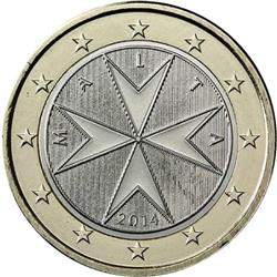 Obverse of Malta 1 euro 2008 - The eight-pointed Maltese cross