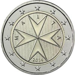 Obverse of Malta 2 euros 2008 - The eight-pointed Maltese cross