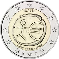 Obverse of Malta 2 euros 2009 - 10th anniversary of the EMU and the birth of the euro