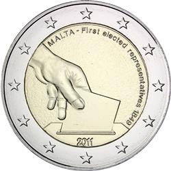 Obverse of Malta 2 euros 2011 - First elected representatives