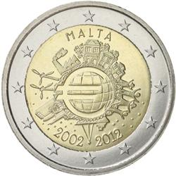 Obverse of Malta 2 euros 2012 - 10 years of euro banknotes and coins