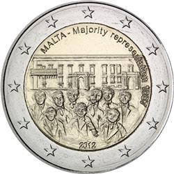 Obverse of Malta 2 euros 2012 - 1887 Majority Representation