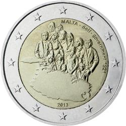 Obverse of Malta 2 euros 2013 - Establishment of Self-Government in 1921