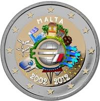 Image of Malta 2 euros colored euro