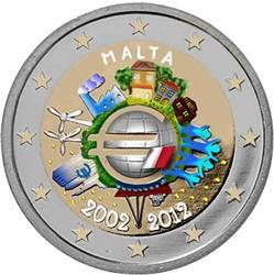 Obverse of Malta 2 euros 2012 - 10th anniversary of the EMU and the birth of the euro