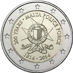Obverse of Malta 2 euros 2014 - 200th Anniversary of the Malta Police Force
