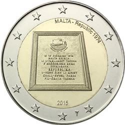 Obverse of Malta 2 euros 2015 - Proclamation of the Republic of Malta in 1974