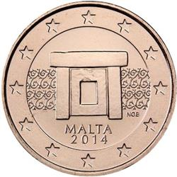 Obverse of Malta 5 cents 2015 - Altar of prehistoric temple of Imnajdra