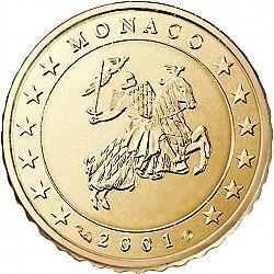 Obverse of Monaco 10 cents 2001 - The monogram of Prince Albert II