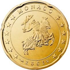 Obverse of Monaco 20 cents 2001 - The monogram of Prince Albert II