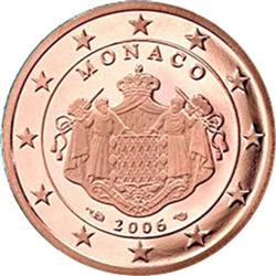 Obverse of Monaco 2 cents 2011 - Grimaldi coat of arms