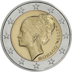 Obverse of Monaco 2 euros 2007 - 25th Anniversary of the Death of Grace Kelly