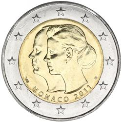 Obverse of Monaco 2 euros 2011 - Wedding of Prince Albert and Charlene Wittstock