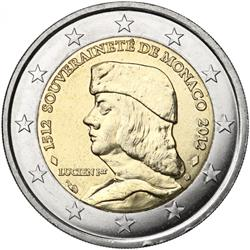 Obverse of Monaco 2 euros 2012 - 500th anniversary of the foundation of Monaco's Sovereignty